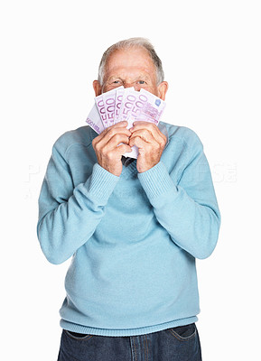 Buy stock photo Portrait of a mature man holding five hundred currency notes isolated against white