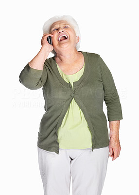 Buy stock photo Portrait of a laughing mature woman over cell phone isolated against white