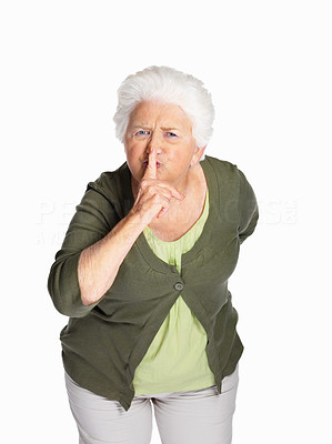 Buy stock photo Portrait of a senior woman making gesture for quiet isolated against white