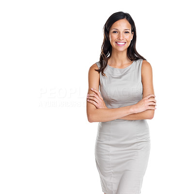 Buy stock photo Beautiful European young woman standing with her hands folded against white background