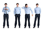 Collage - Handsome young businessman standing on white