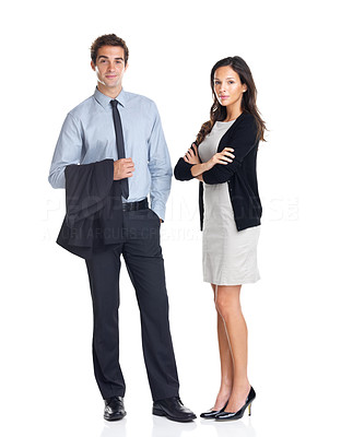 Buy stock photo Full length portrait of young confident business colleagues standing isolated on white background