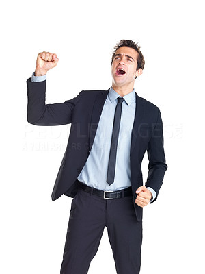 Buy stock photo Achievement  - Young excited businessman celebrating success on white background