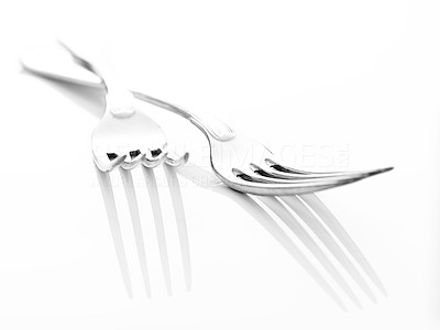 Buy stock photo kitchen utensil - Two stainless steel forks isolated on white background