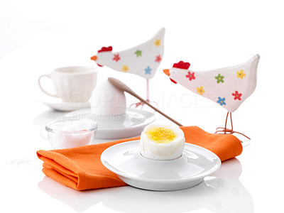 Buy stock photo Easter - table setting with toy chicken and boiled eggs