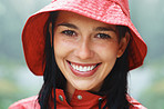 Pretty woman in raincoat and hat