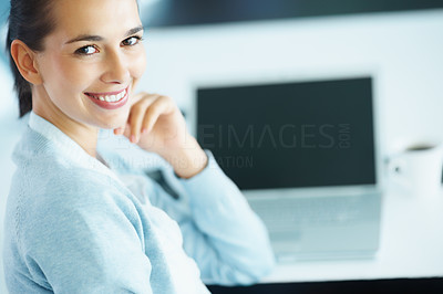 Buy stock photo View of smiling woman in front of laptop and coffee
