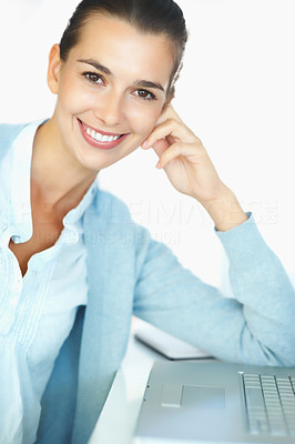 Buy stock photo Happy woman sitting in front of laptop