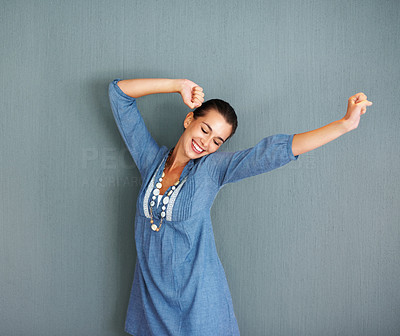 Buy stock photo Pretty woman stretching and smiling