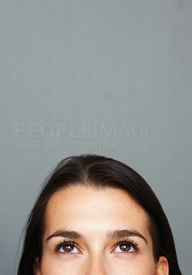 Buy stock photo Closeup of woman's face from nose up
