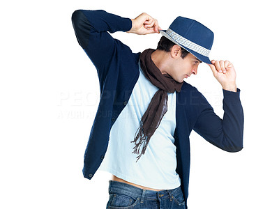 Buy stock photo A handsome young male fashion model wearing a hat posing against a white background