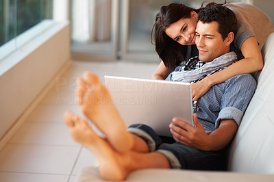 Buy stock photo Portrait of handsome man and woman indoors working on laptop