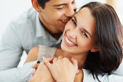 Buy stock photo Closeup portrait of romantic couple having fun