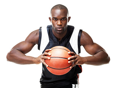 Buy stock photo Portrait of a young male basketball player gripping the ball tightly isolated on white background
