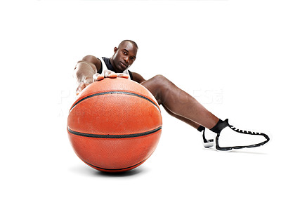 Buy stock photo Portrait of a young african american man with a basketball over white background