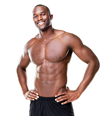 Buy stock photo Portrait of a handsome young man with great physique posing against white background