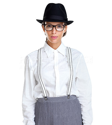 Buy stock photo Portrait of a cute young woman wearing hat and glasses against white background