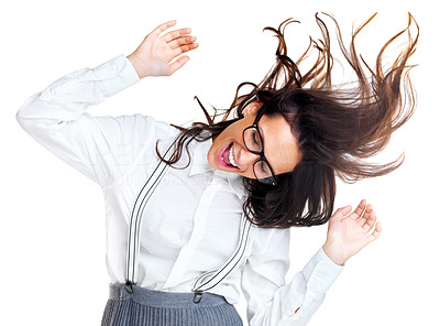 Buy stock photo Portrait of a crazy young woman in a playful mood against white background