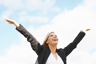 Buy stock photo Successful business woman with arms outstretched