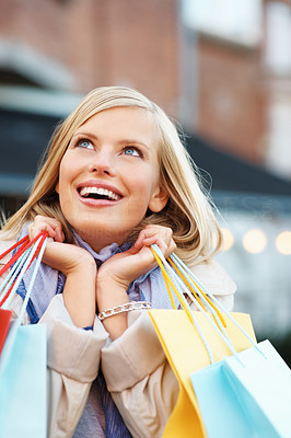 Buy stock photo Happy girl with shopping bags