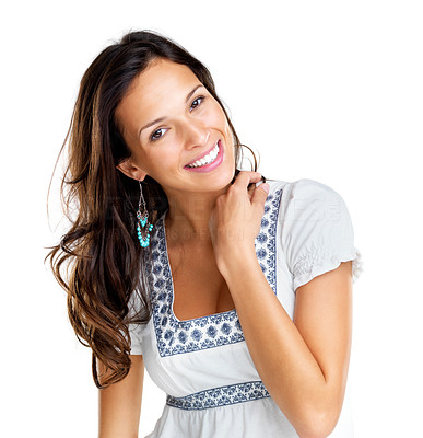 Buy stock photo Portrait of a pretty young fashion model smiling against white isolated background