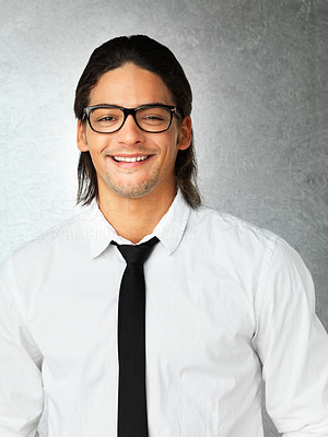 Buy stock photo Portrait of attractive man wearing tie and glasses against gray background
