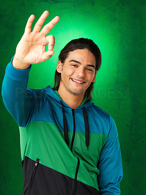 Buy stock photo Handsome man giving ok sign
