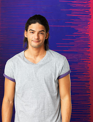 Buy stock photo Handsome man dressed casually against blue and purple background