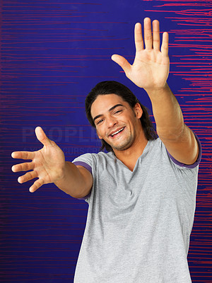 Buy stock photo Portrait of happy man with hands extended out