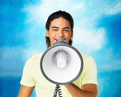 Buy stock photo Closeup of attractive man using megaphone