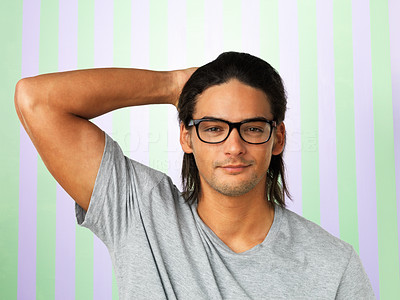Buy stock photo Closeup of handsome man in glasses with hand behind head