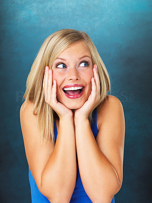 Buy stock photo Closeup of pretty woman looking surprised