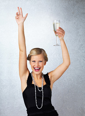 Buy stock photo Dancing woman with champagne flute