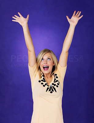 Buy stock photo Portrait of pretty woman with arms raised up