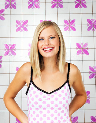 Buy stock photo Pretty woman smiling with hands on hips indoors