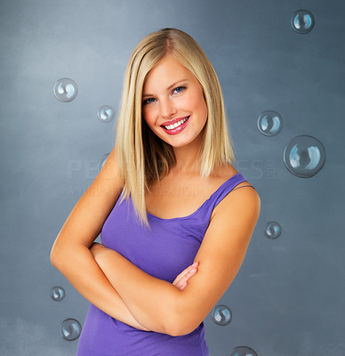 Buy stock photo Pretty blonde woman smiling with arms crossed