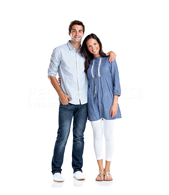 Buy stock photo Portrait of a romantic young couple standing together over white background