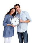 Value of time - Happy young couple standing together with a clock