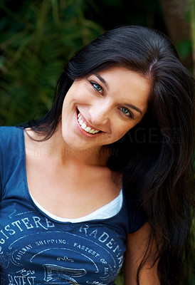 Buy stock photo Closeup portrait of an attractive young lady looking at you with a smile