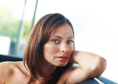 Buy stock photo Portrait of an attractive young woman looking at you with an attitude