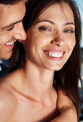 Buy stock photo Closeup portrait of a beautiful young smiling with her boyfriend