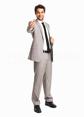 Buy stock photo Happy business man giving you a thumbs up against white background