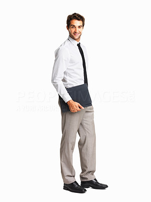 Buy stock photo Confident executive with portfolio on white background