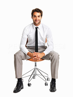 Buy stock photo Happy executive sitting on a chair over white background
