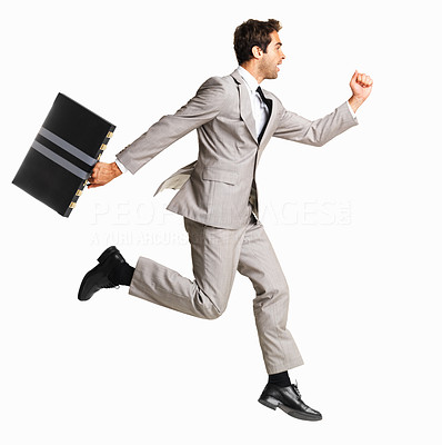Buy stock photo Full length of business man with briefcase running on white background