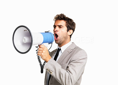 Buy stock photo Business man yelling through a megaphone on white background