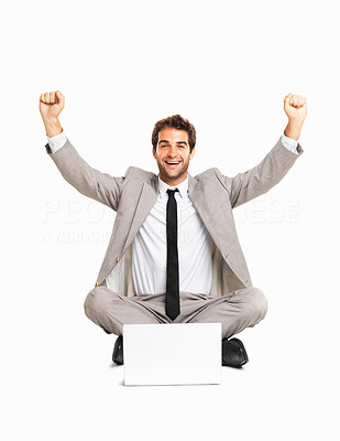 Buy stock photo Business man celebrating success with a laptop on white background