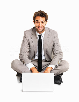 Buy stock photo Happy business man using a laptop on white background