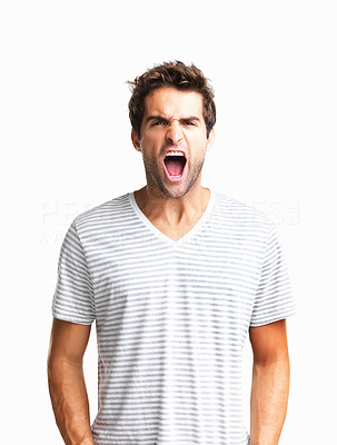 Buy stock photo Man frustrated to the point of yelling