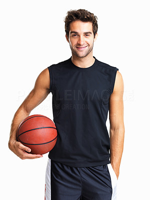 Buy stock photo Friendly athletic holding a basketball